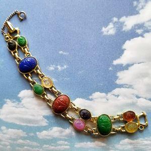 Vintage Scarab bracelet gold tone link